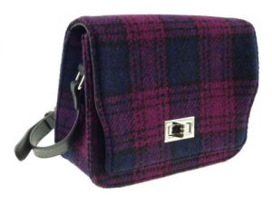 scottish gift harris tweed handbag cerise black check
