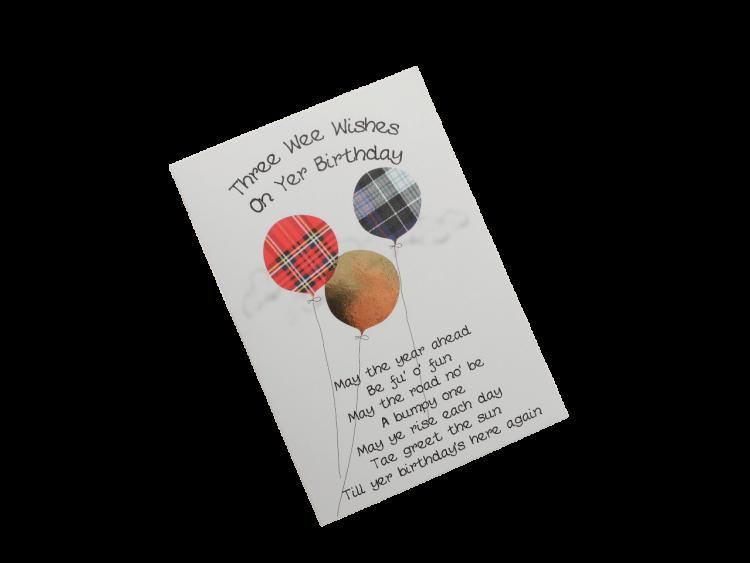 scottish birthday card tartan balloons doric scots language humorous funny