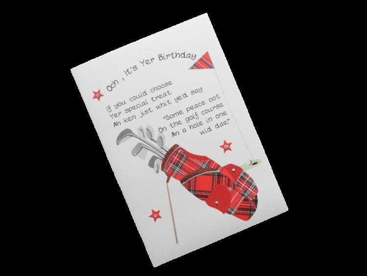scottish birthday card tartan golf bag doric scots language humorous funny