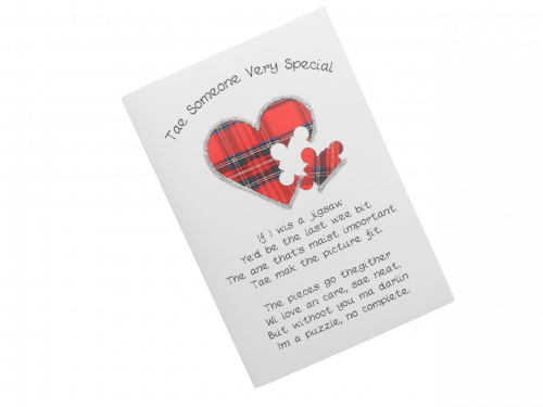 scottish card someone special tartan heart with puzzle piece doric scots language