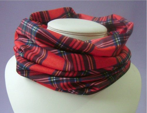 tube scarf buff red tartan