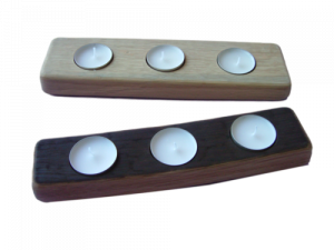 scottish oak triple tealight holder