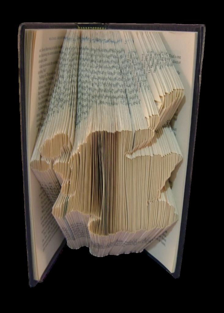 book art sculpture book folding map of Scotland