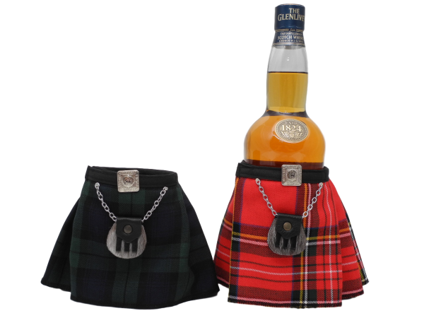 scottish novelty tartan kilt bottle dresser