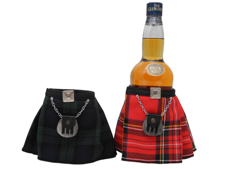 scottish novelty tartan kilt bottle dresser