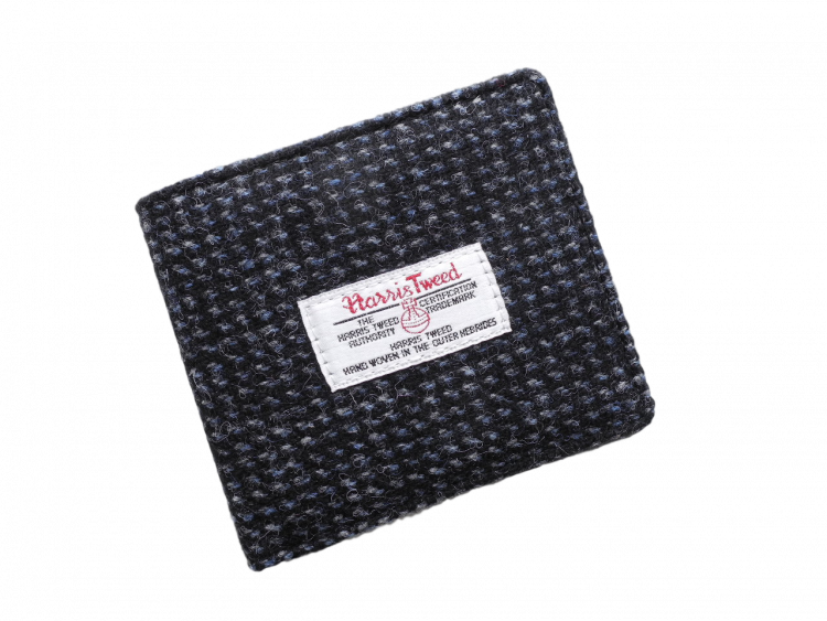 scottish gents wallet harris tweed check black grey check