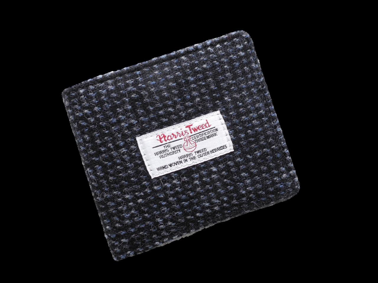 scottish gents wallet harris tweed check black grey check