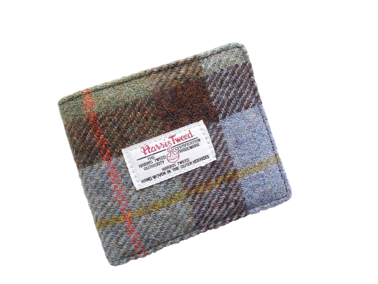 scottish gents wallet harris tweed blue green check