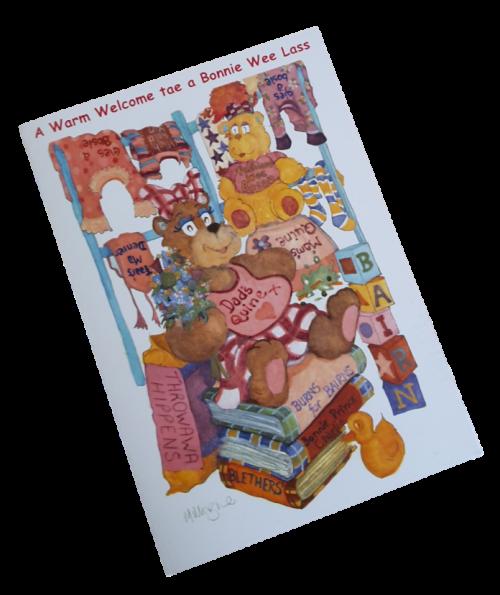 scottish birth congratulations card teddies girl