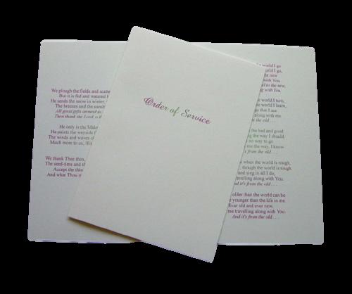order of service wedding stationery
