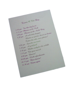 events of the day wedding stationery
