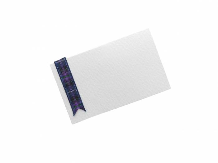 Hand crafted tartan ribbon place card