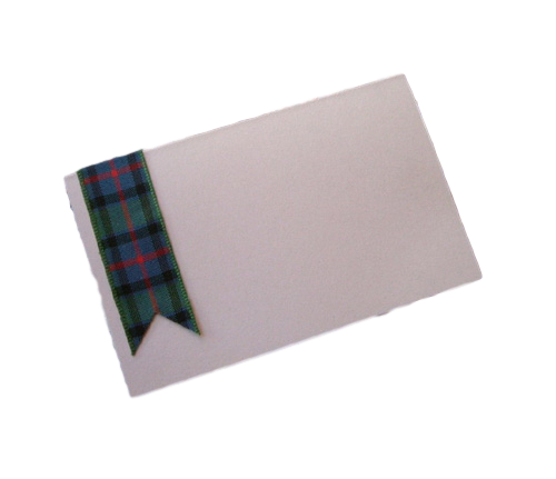 scottish hand made tartan ribbon place card