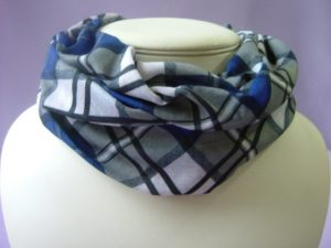 tube scarf buff blue tartan