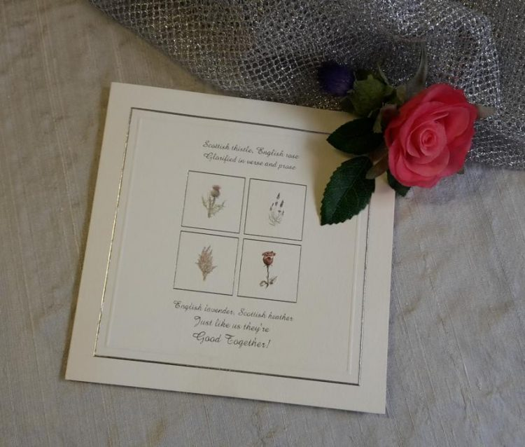 scottish wedding invitations stationery thistle rose lavender heather