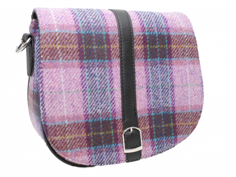 scottish gift harris tweed handbag shoulder bag lilac check