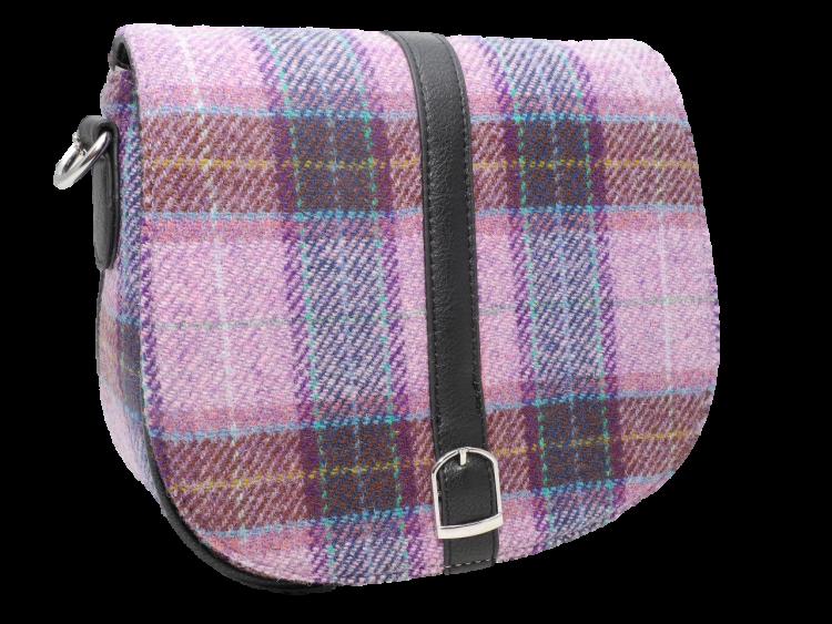 scottish gift harris tweed handbag shoulder bag lilac check