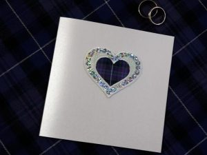 scottish hand made wedding invitations stationery tartan heart