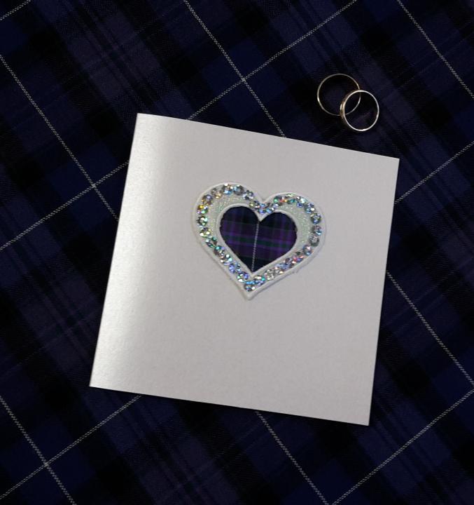 scottish hand made wedding invitations stationery tartan heart