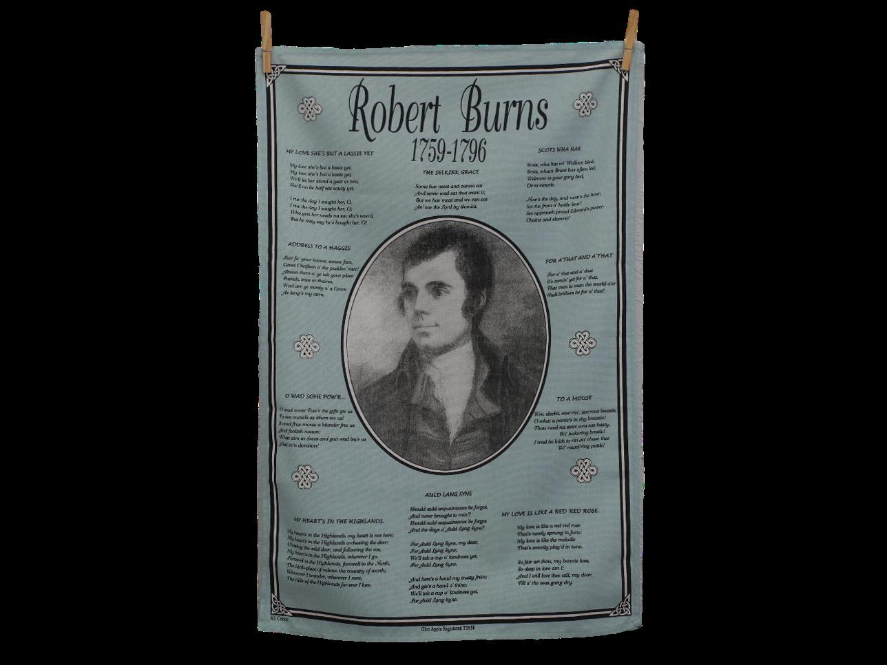 scottish scots language robert burns poetry tea towel