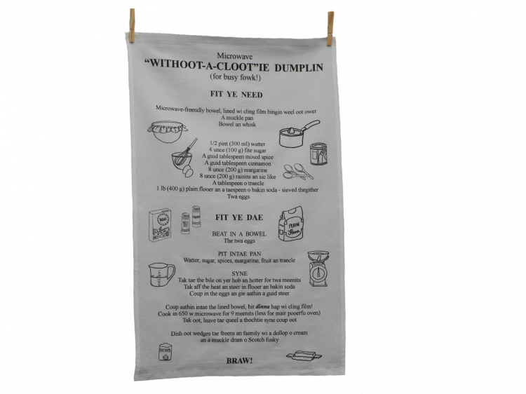 scottish scots language tea towel clootie dumpling recipe