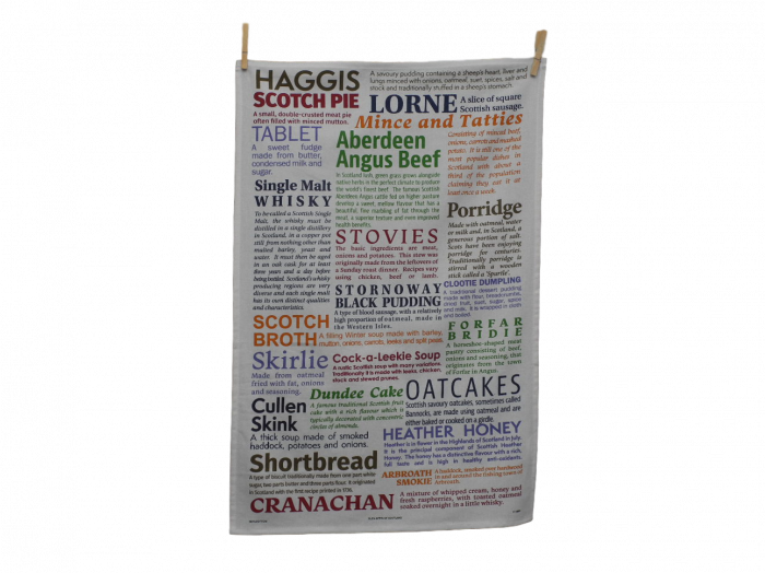 scottish tea towel scottish foods with descriptions