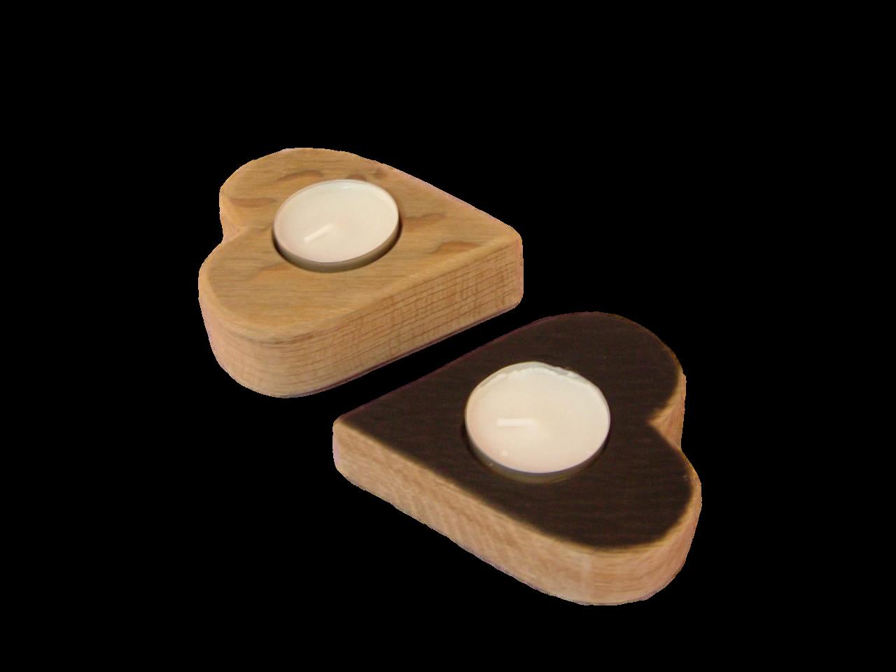 scottish oak heart shaped tealight holder