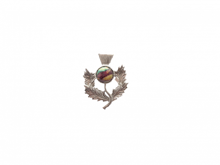 thistle brooch scottish heathergem