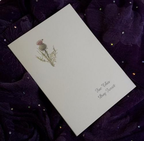 scottish scots language wedding invitations stationery thistle