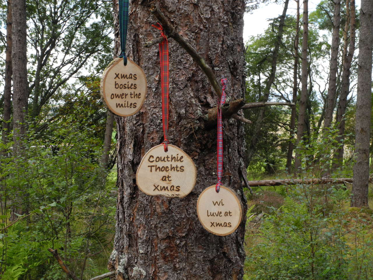 scottish scots language sayings phrases wooden tartan hanging plaque pyrography christmas