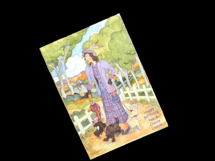 scottish birthday card female scottie dogs humorous doric scots language