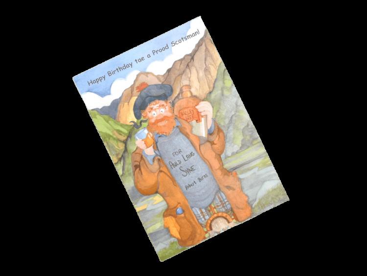scottish birthday card mature scotsman drinking whisky humorous doric scots language
