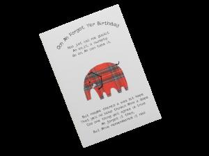 scottish tartan elephant belated birthday card
