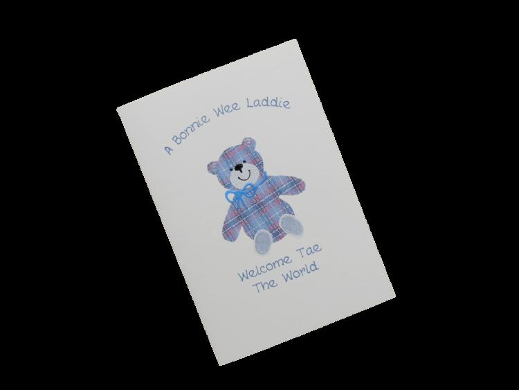 scottish birth congratulations card boy girl tartan teddy doric scots language