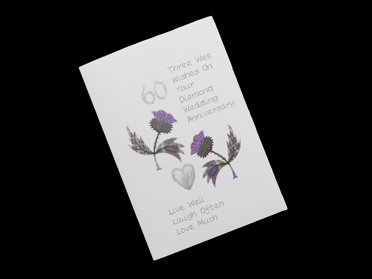 scottish diamond 60th anniversary card tartan thistles scots language