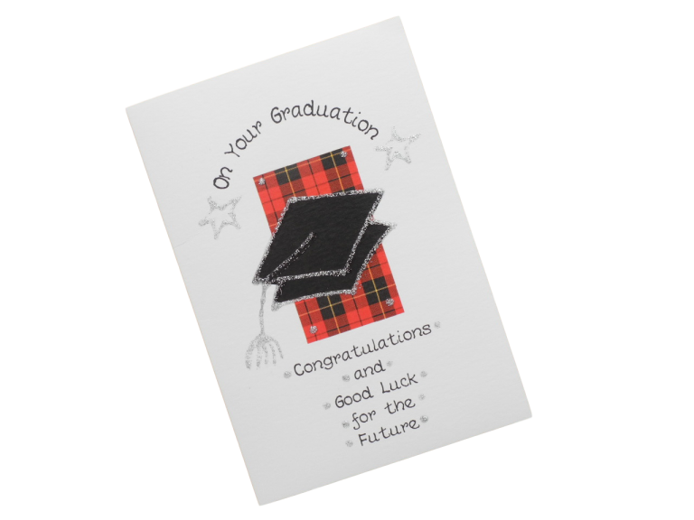 scottish graduation card tartan mortar board