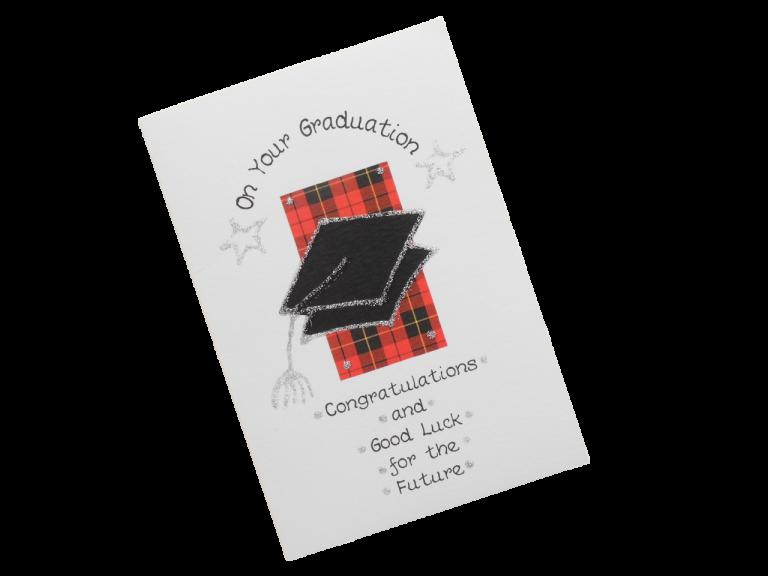 scottish graduation card tartan mortar board