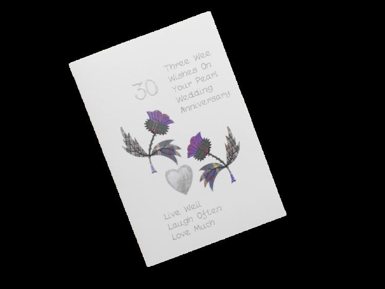 scottish pearl 30th anniversary card tartan thistles doric scots language
