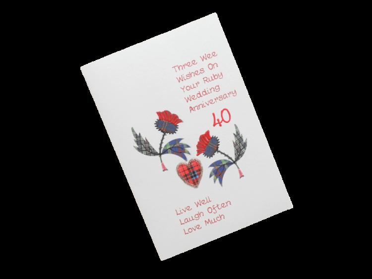scottish ruby 40th anniversary card tartan thistles doric scots language
