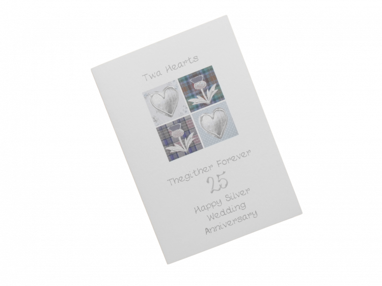 scottish silver 25th anniversary card tartan hearts and thistles doric scots language