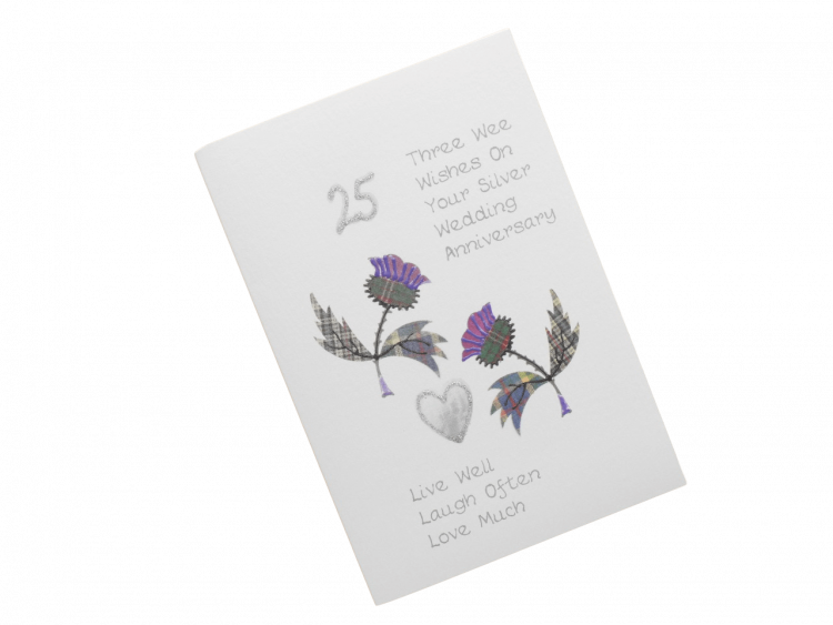 scottish silver 25th anniversary card tartan thistles doric scots language