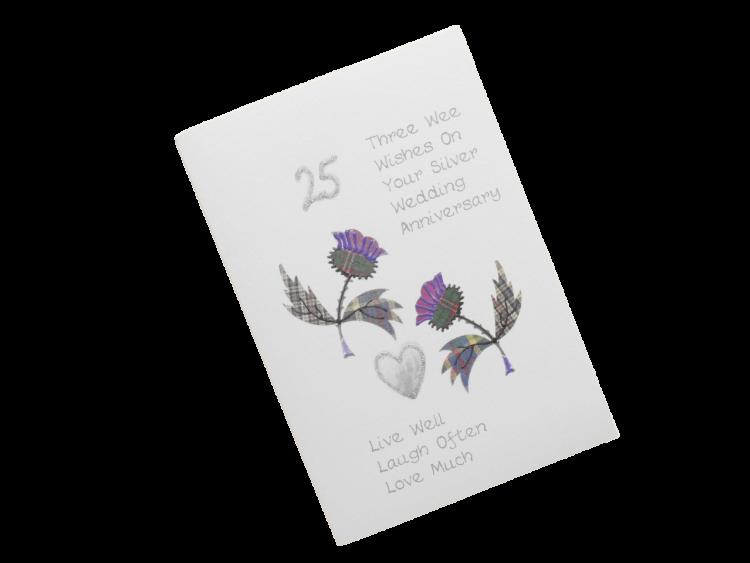 scottish silver 25th anniversary card tartan thistles doric scots language