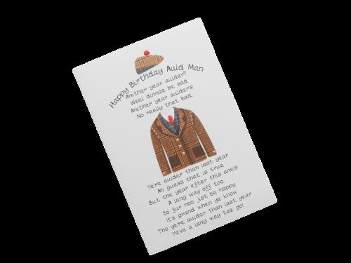scottish birthday card tweed jacket hat doric scots language