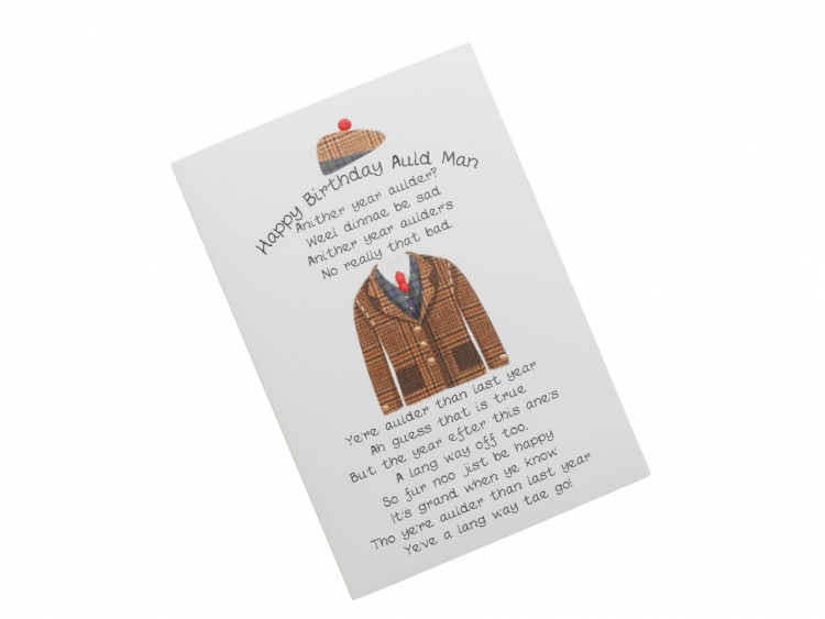 scottish birthday card tweed jacket hat doric scots language