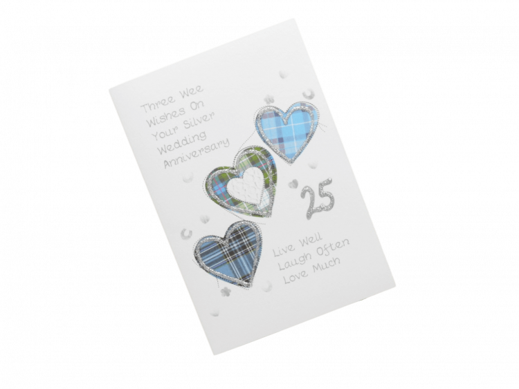 scottish silver 25th anniversary card tartan hearts doric scots language