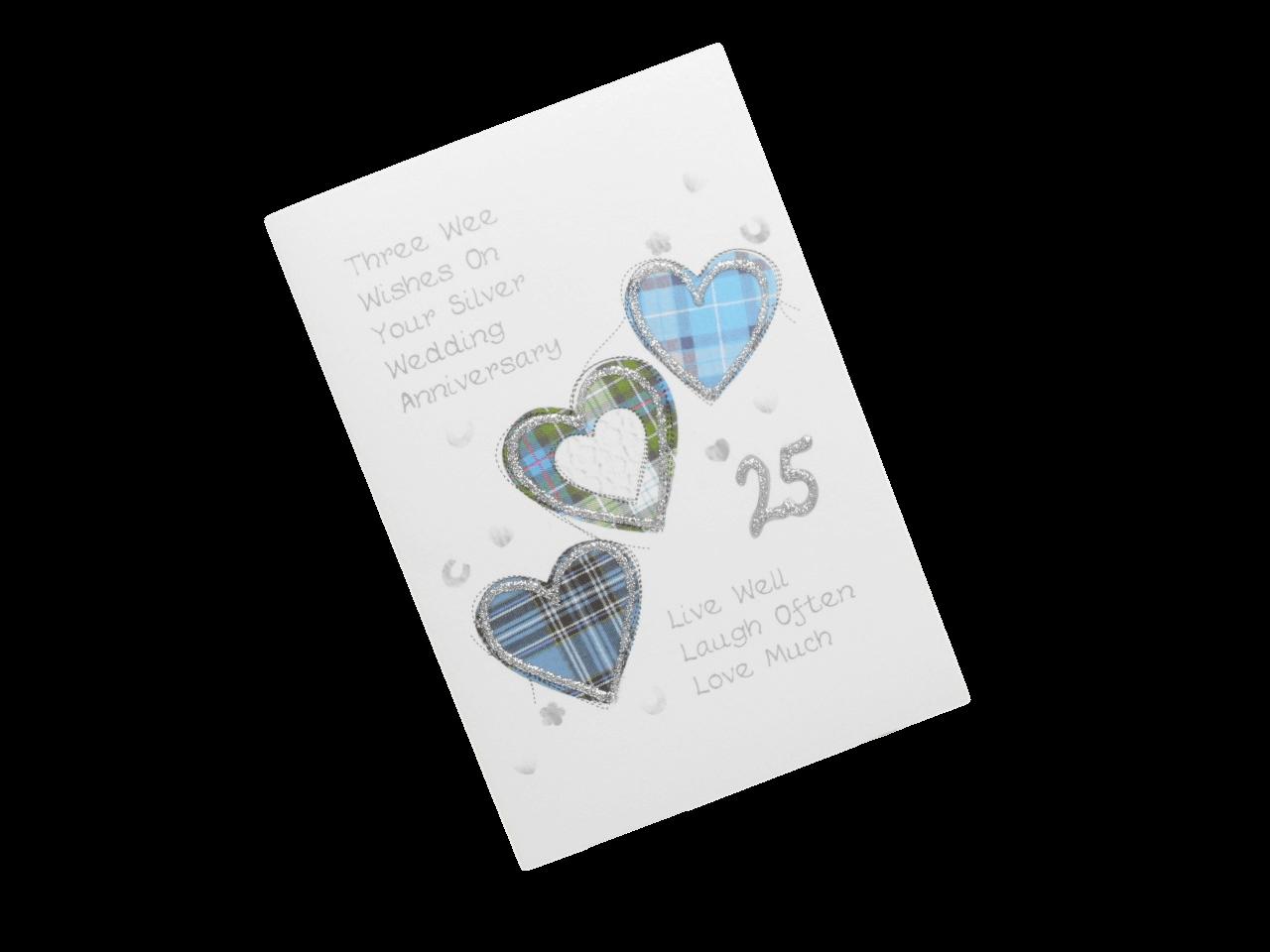 scottish silver 25th anniversary card tartan hearts doric scots language