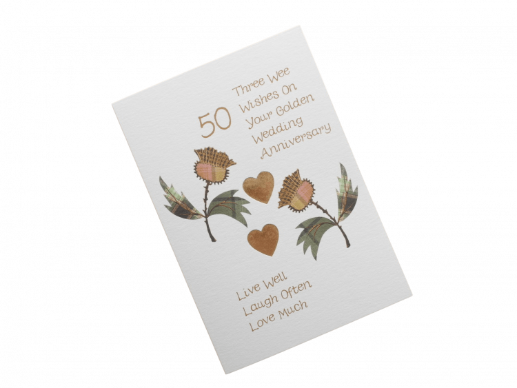 scottish golden anniversary card tartan thistles