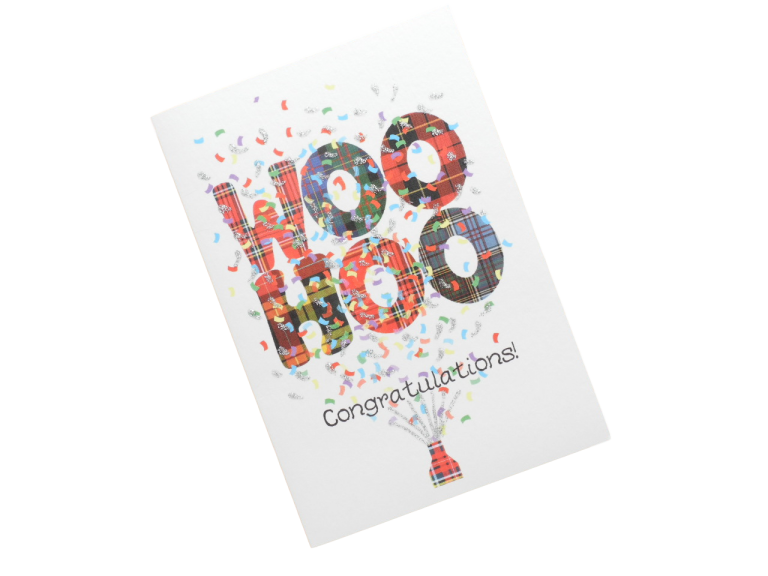 scottish congratulations card tartan woo hoo