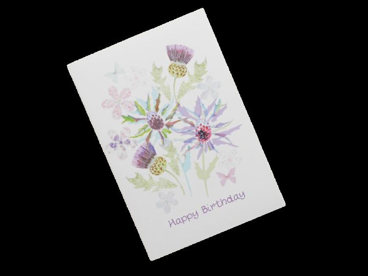scottish birthday card thistles