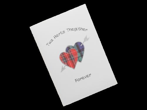 scottish card tartan hearts love together forever doric scots language